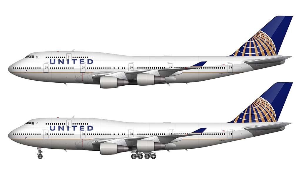 United Airlines 747-400 illustration