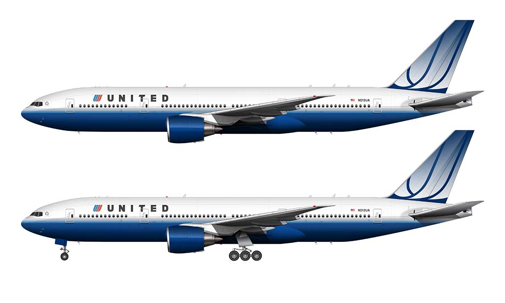 United 777-200 blue tulip livery