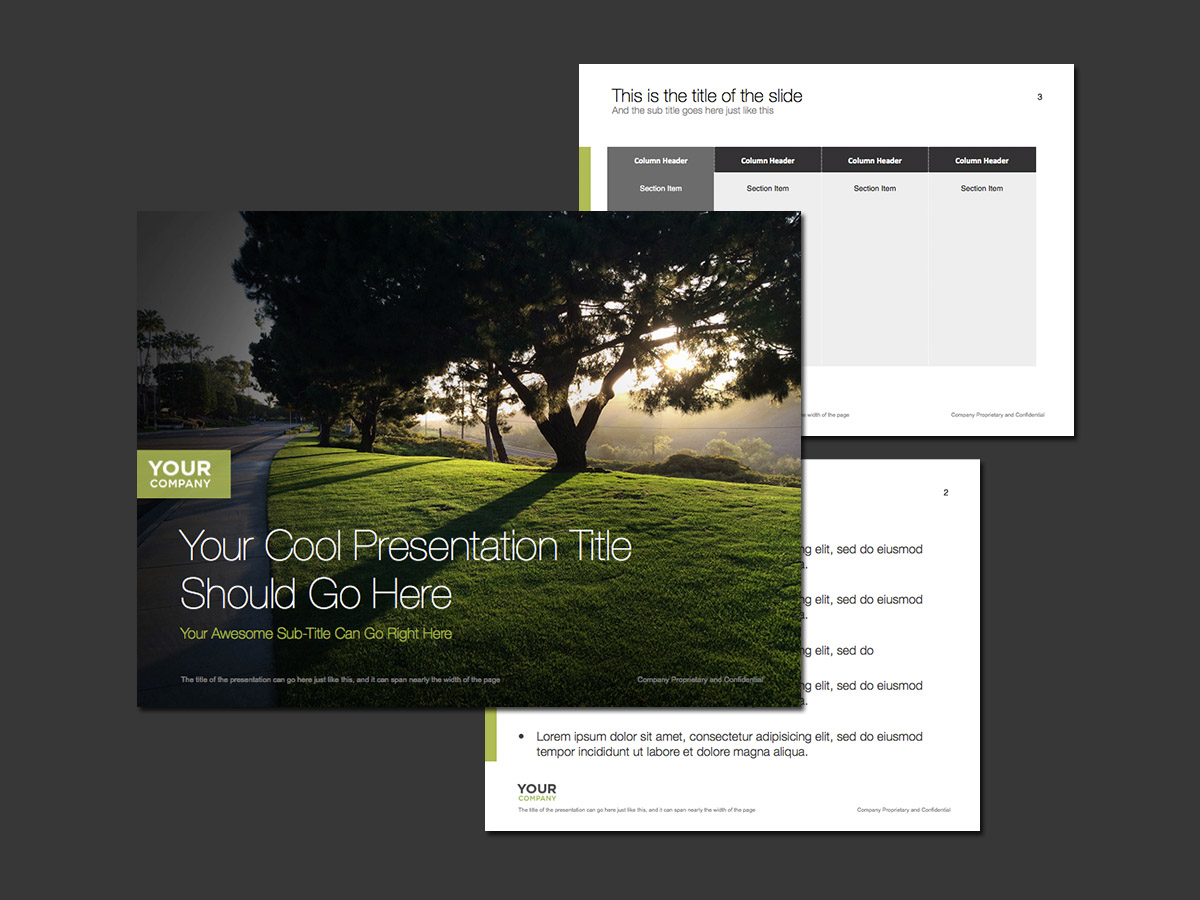 full screen green nature scene powerpoint template