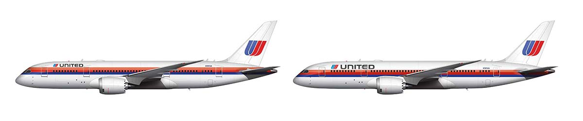 united airlines Saul Bass livery differences comparison