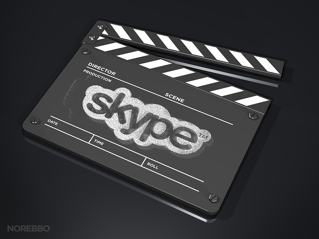 Skype logo on a movie clap board