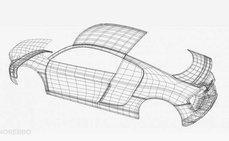 Audi R8 3d wireframe
