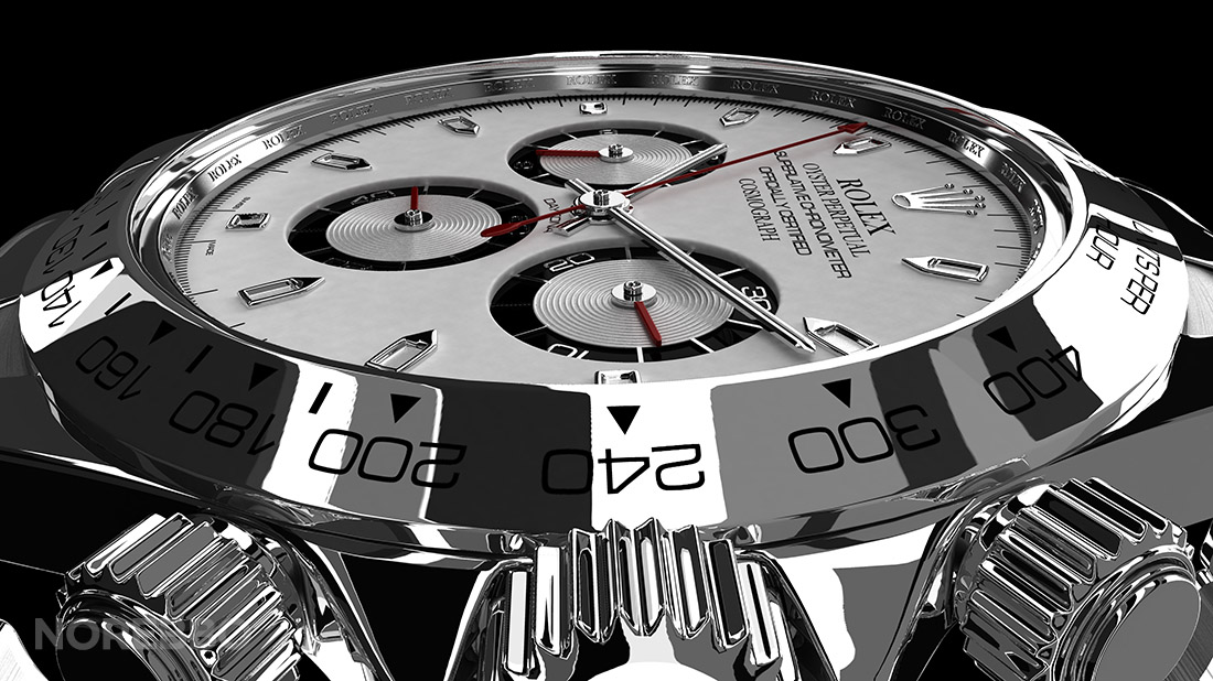 close up rendering of the rolex watch
