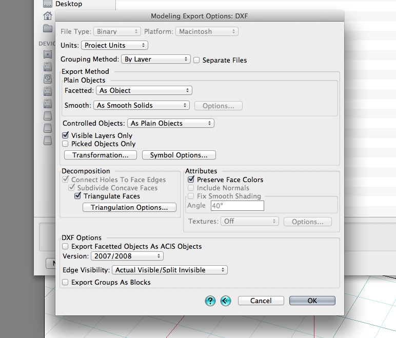DXF export settings