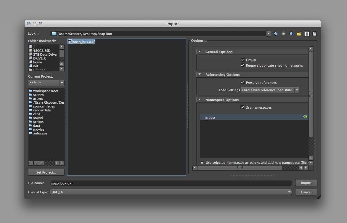 import dxf file into maya