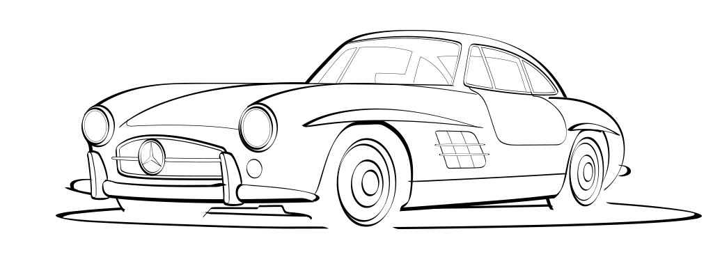 mercedes 300sl line art - Mercedes Benz Logo Vector