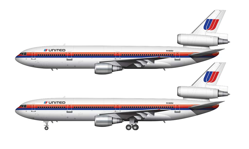 United Airlines DC-10-30 side view drawing