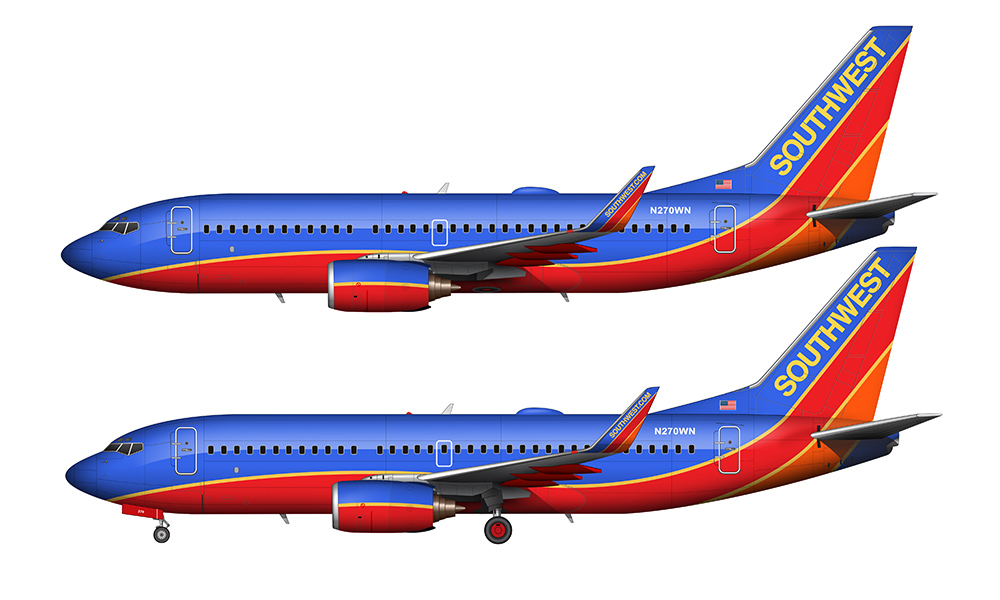 Southwest 737-700 side view