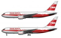 red and white TWA 767 drawing