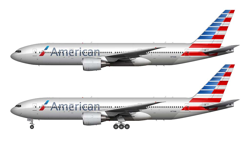 new american airlines livery on a boeing 777-200