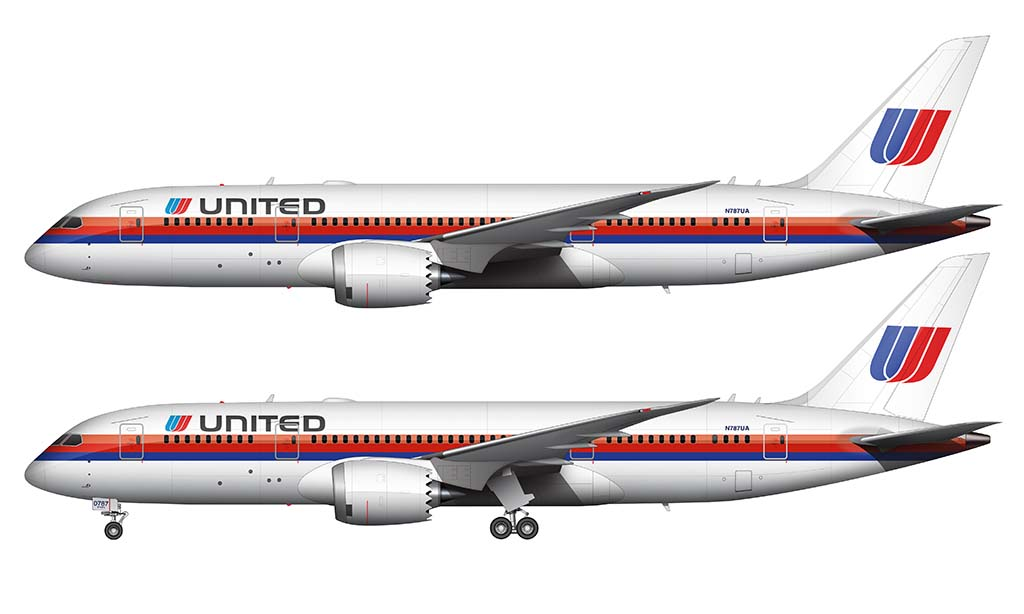 Retro United Airlines 787-8
