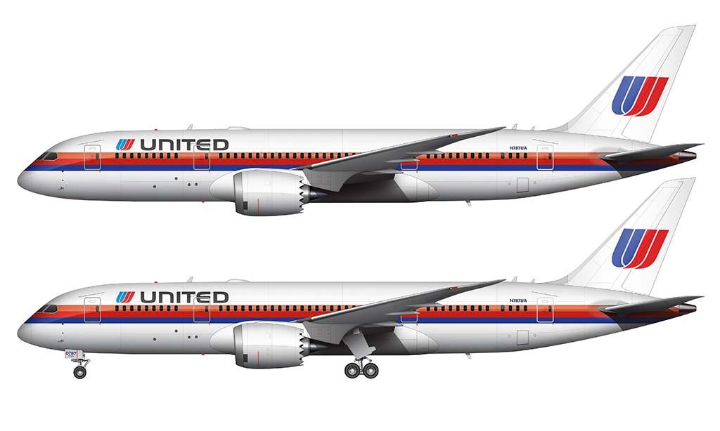 Retro United Airlines 787-8