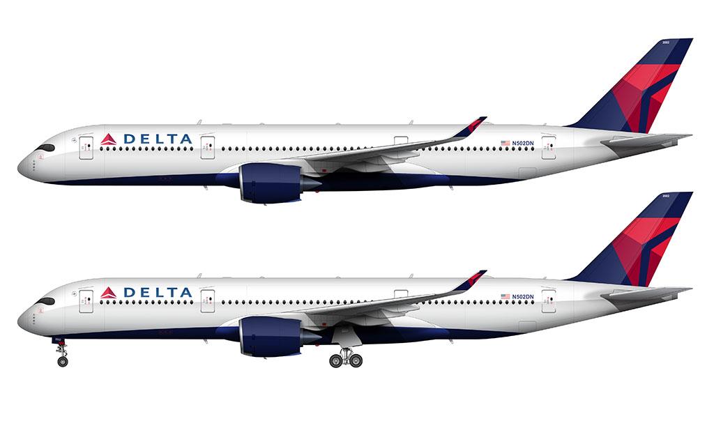 Delta Air Lines Airbus A350-900 onward and upward livery