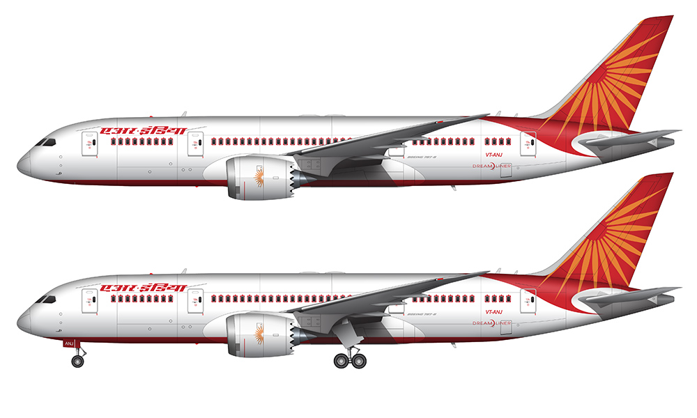 Air India 787-8 side view drawing