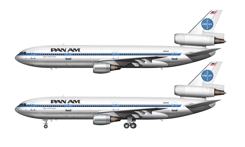 Pan Am DC-10-30 side view illustration – Norebbo