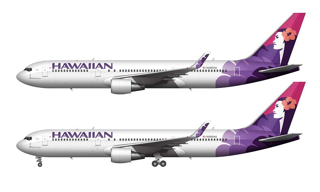 Hawaiian Airlines 767-300 side profile illustrations with