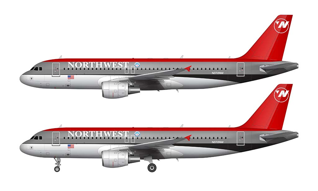 Northwest Airlines Airbus A320 bowling shoe livery