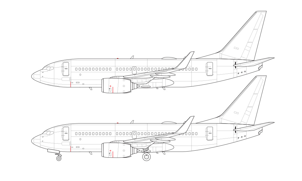 outline line drawing boeing 737-700