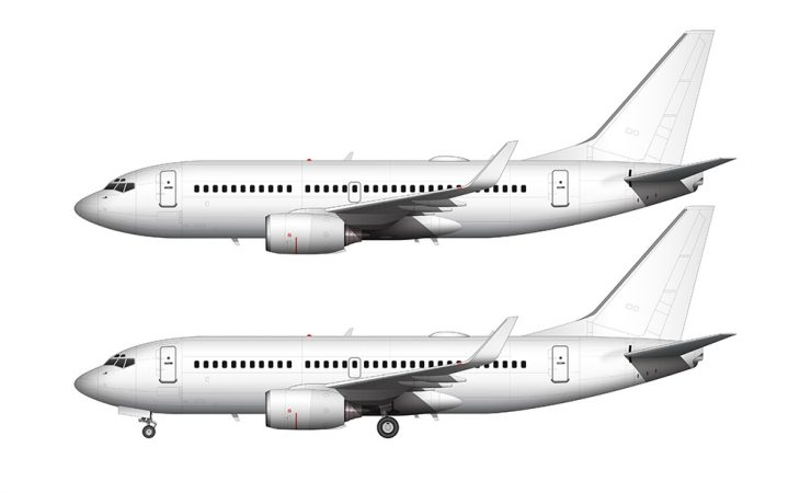 boeing 737-700 side view illustration