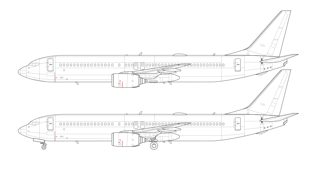 side view line drawing 737-900