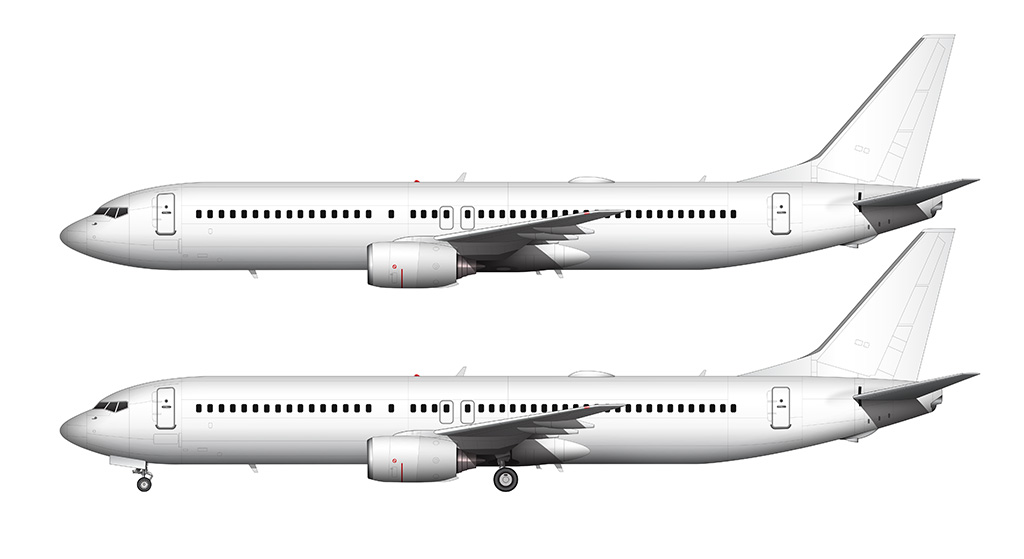 blank side view 737-900