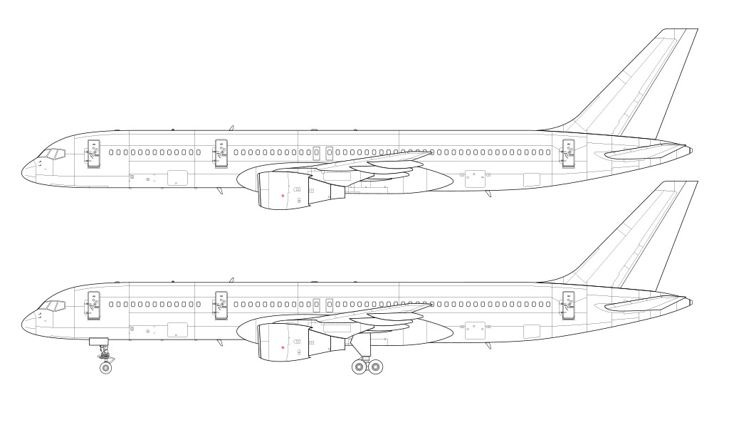 757-200 line drawing without winglets