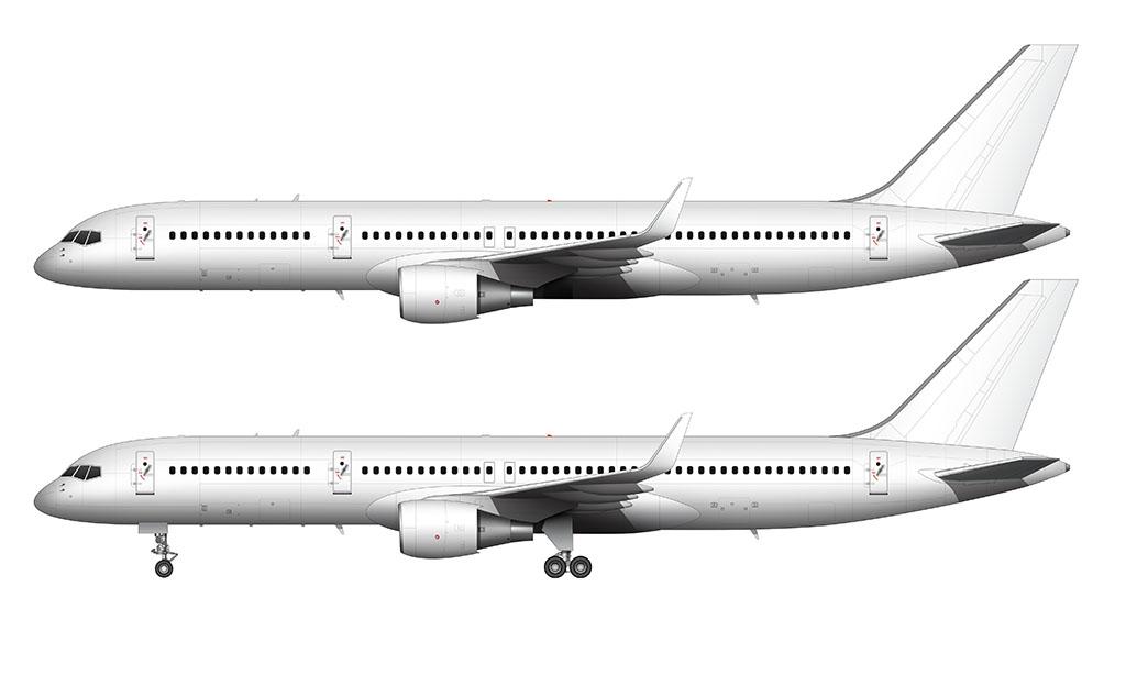 blank white 757-200 illustration