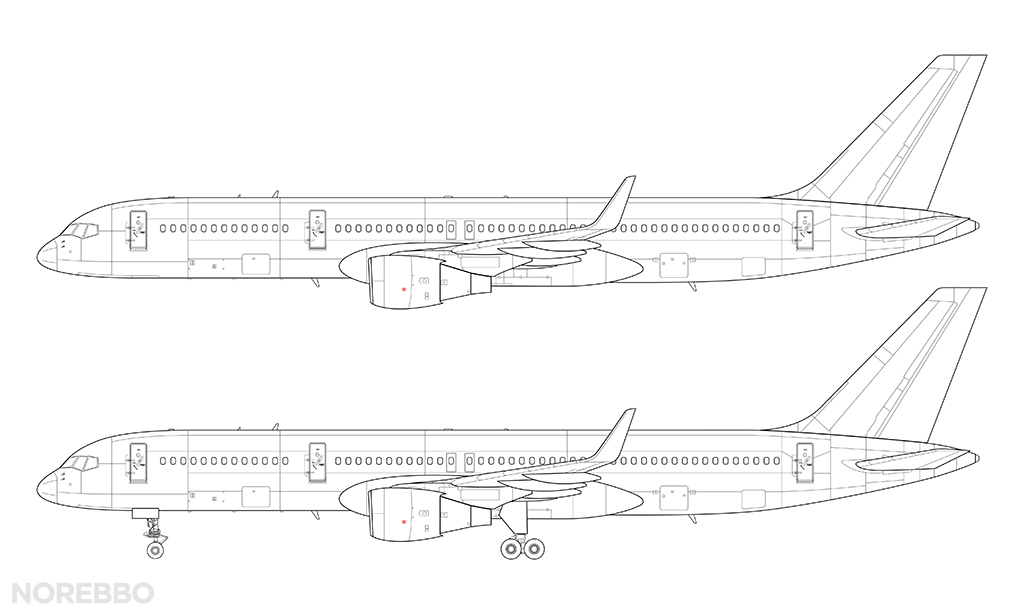 757-200 line art with winglets