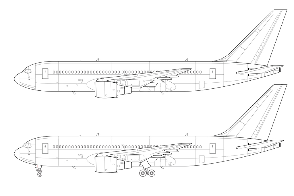 767-200 detailed line drawing