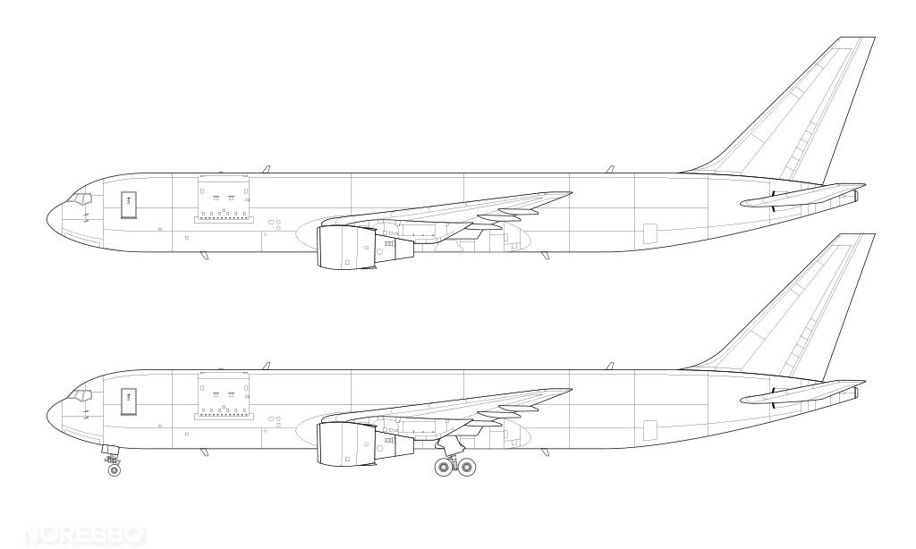 cargo 767-300 line drawing no winglets