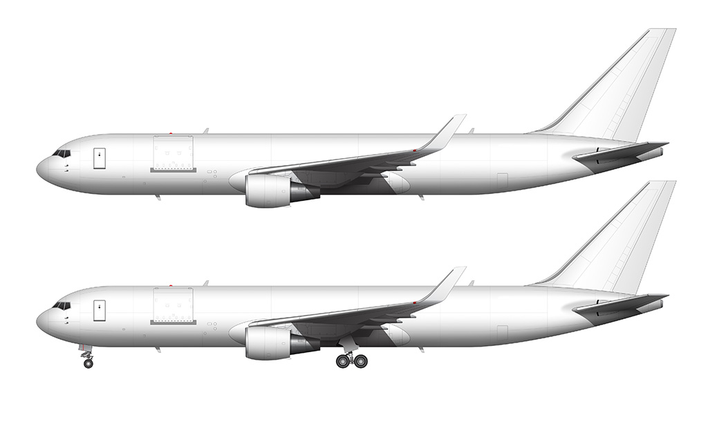 all white cargo 767-300 with winglets