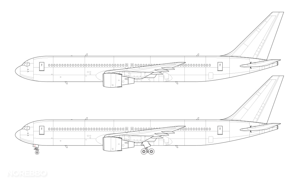 line drawing 767-300 no winglets