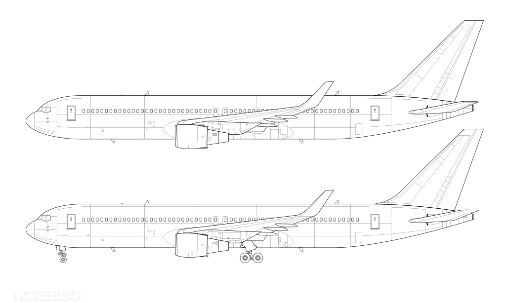 line drawing of a 767-300