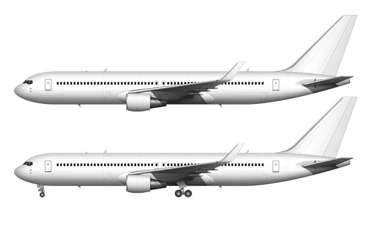 767-300 white with winglets