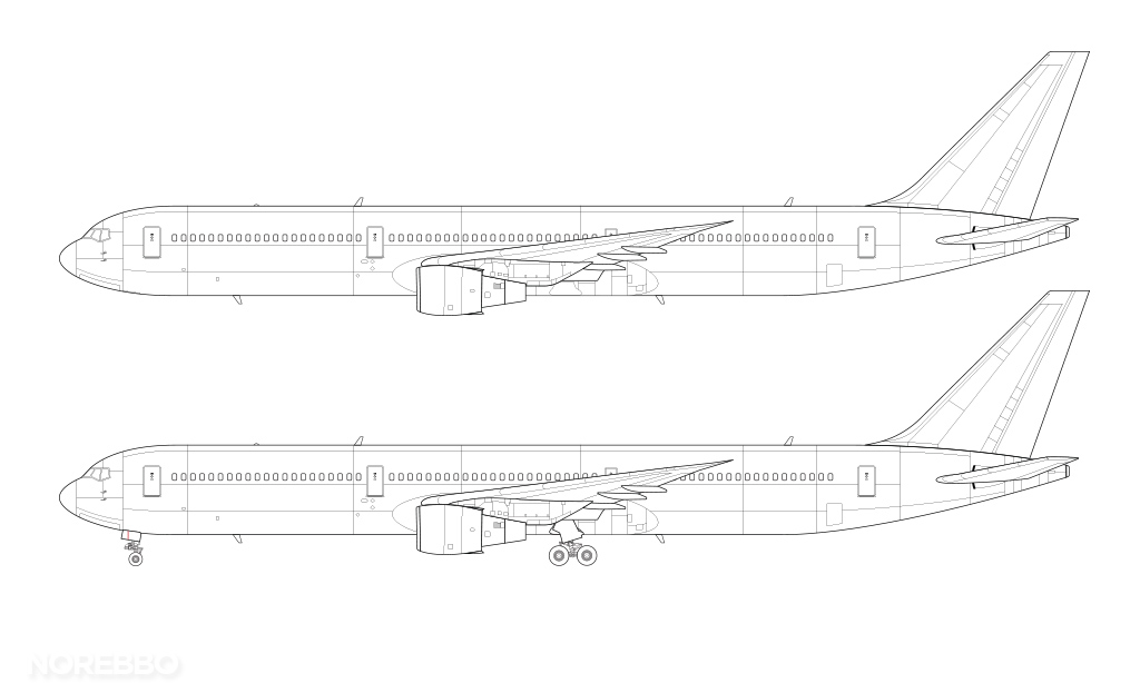 767-400 line drawing