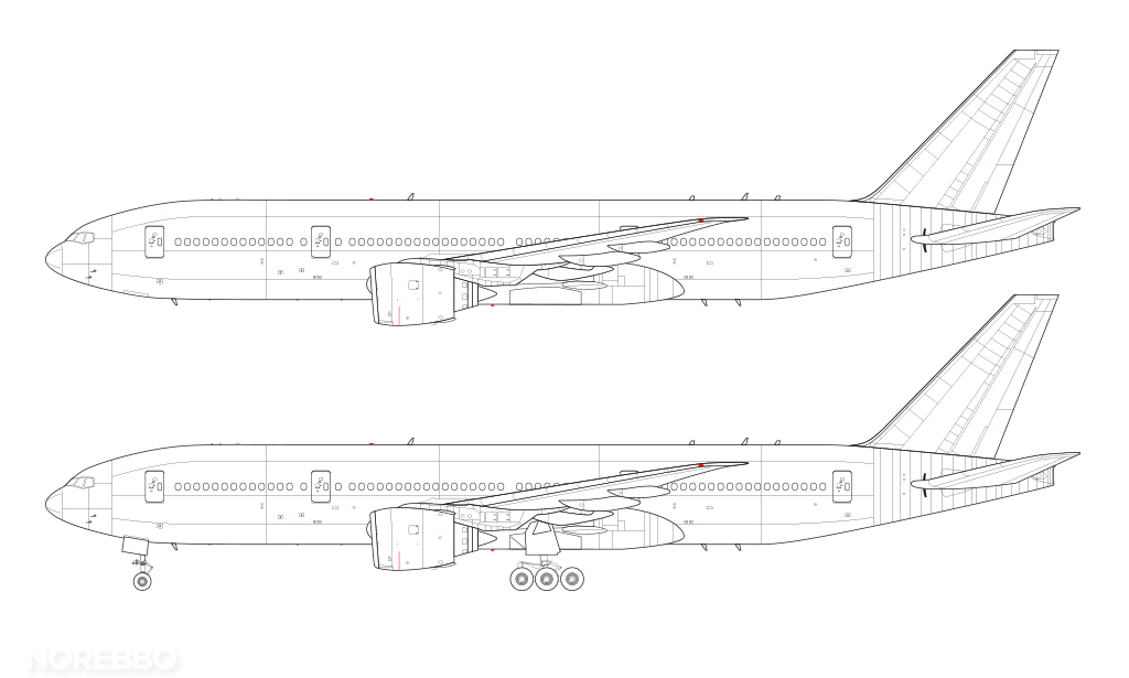 Boeing 777-200 line drawing