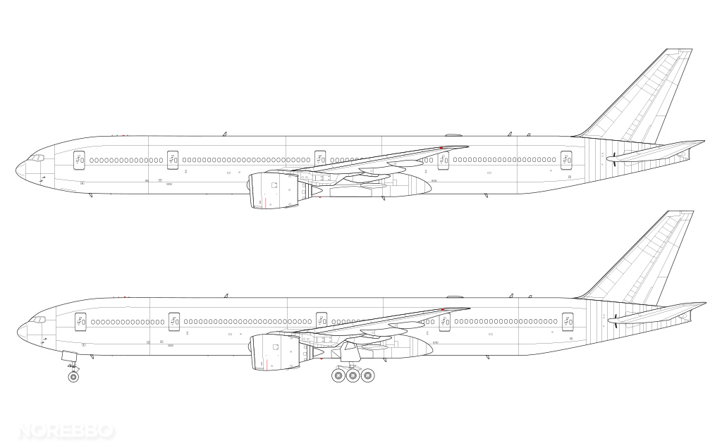boeing 777-300 line drawing