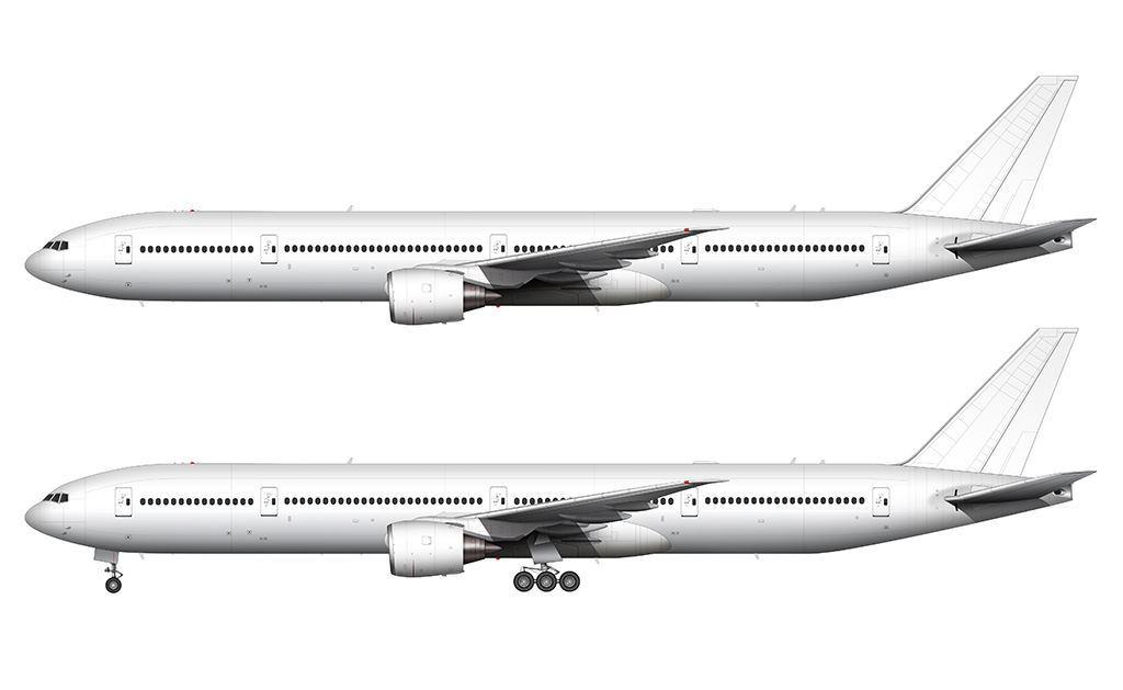 Boeing 777 300 Blank Illustration Templates Norebbo Aeroplane Colouring Page