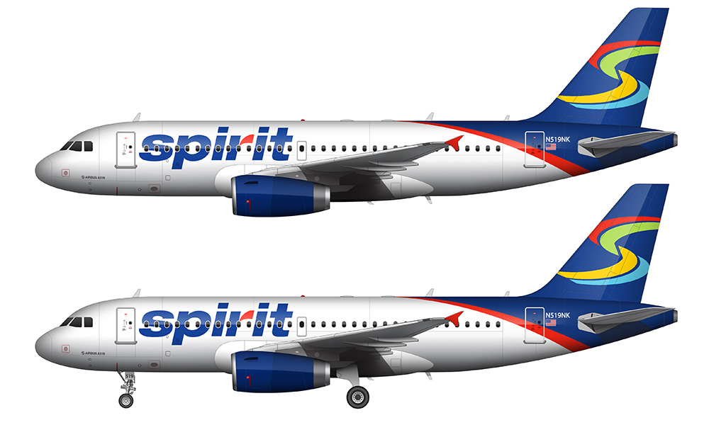 Spirit Airlines blue and white livery
