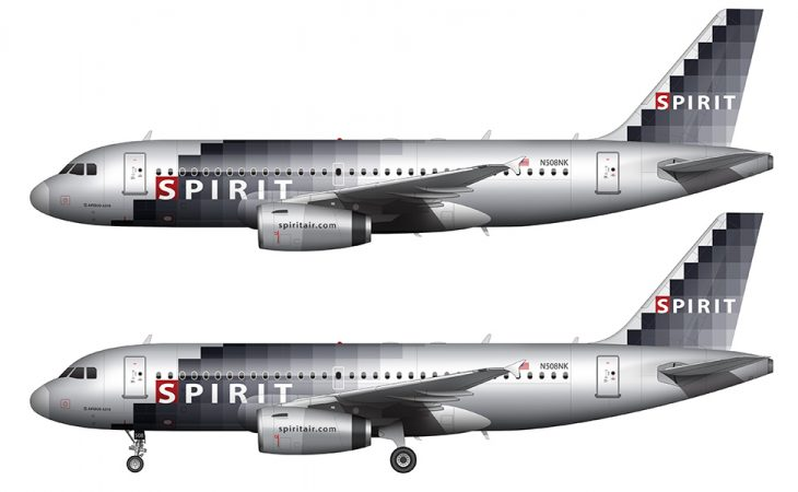 spirit airlines silver and gray pixel livery