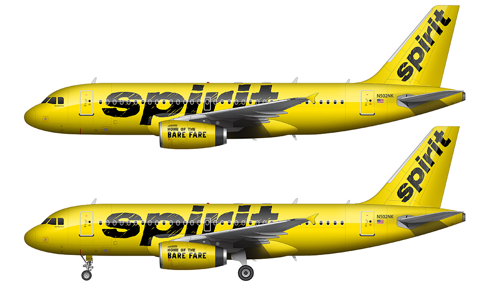Spirit Airlines yellow livery