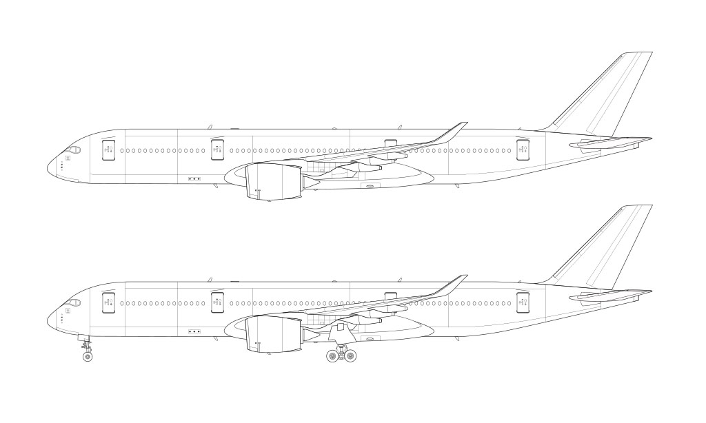 Airbus A350-900 side view line drawing
