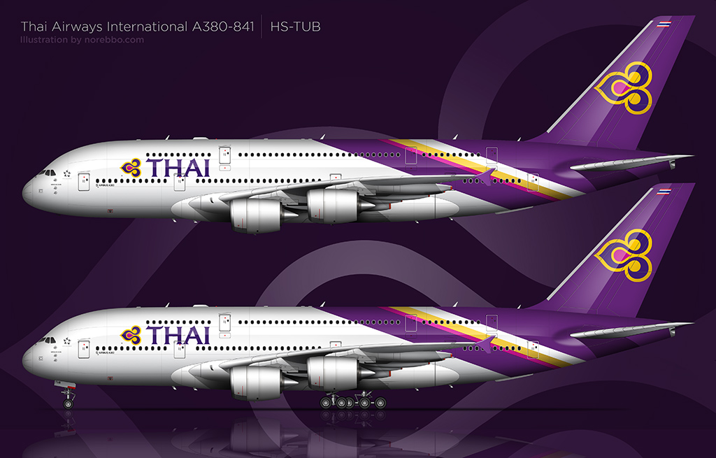 thai airways international a380 side view