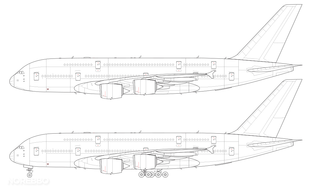 A380-800 technical line drawing