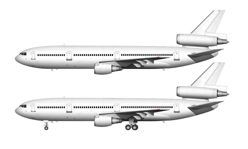 Two side profile illustrations of an all white McDonnell Douglas DC-10-30 with and without the landing gear deployed over a white background