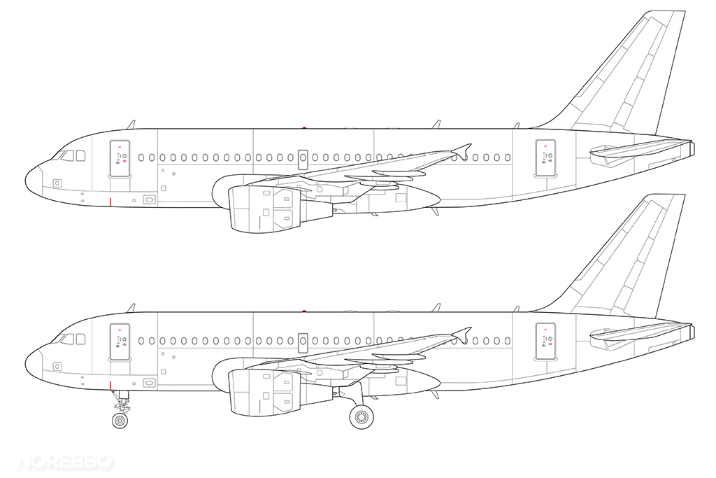 A319 line drawing cm56 engines