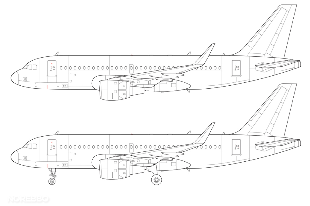 A319 line drawing with sharklets