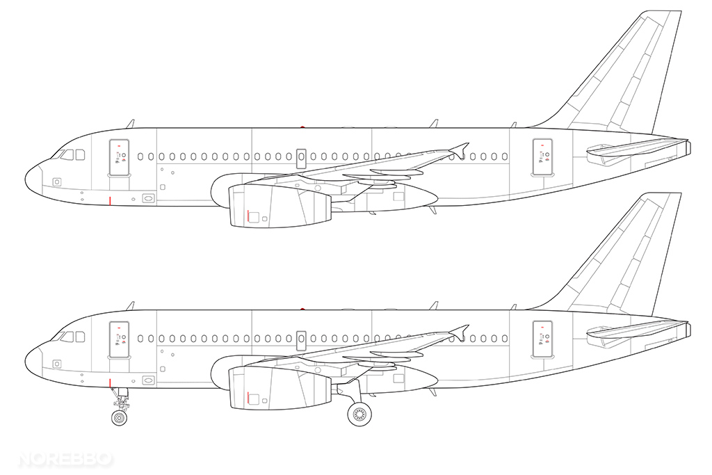 a319 line drawing v2500 engines