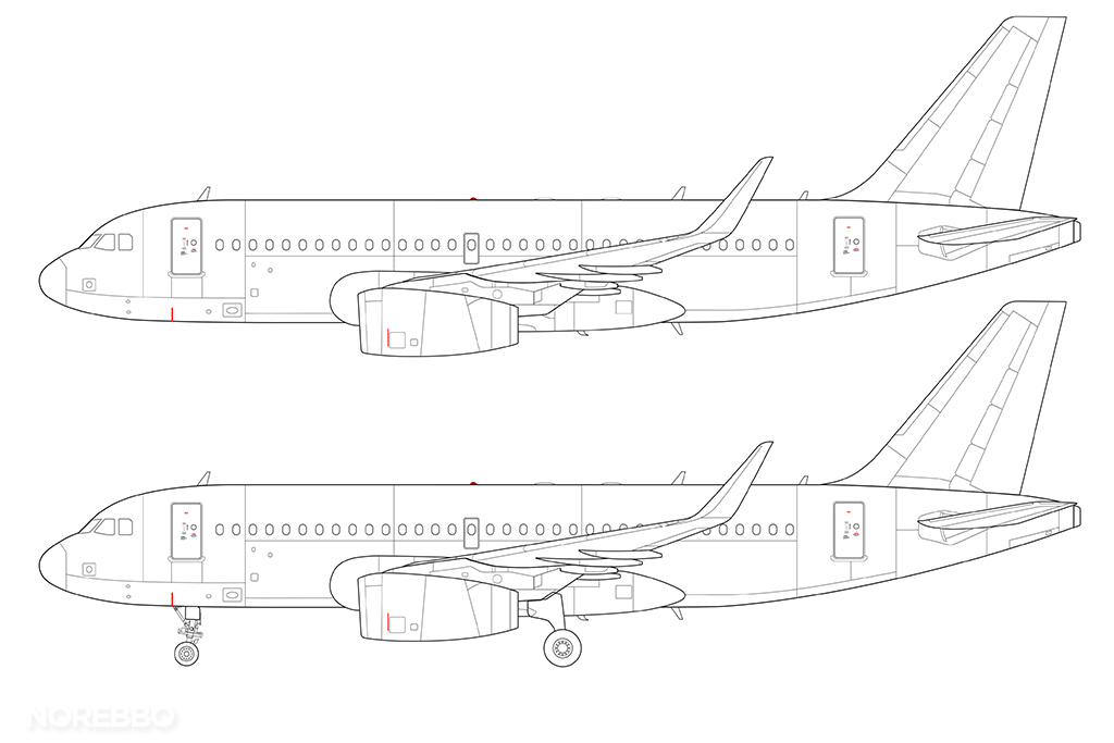 a319 line drawing v2500 engines and sharklets