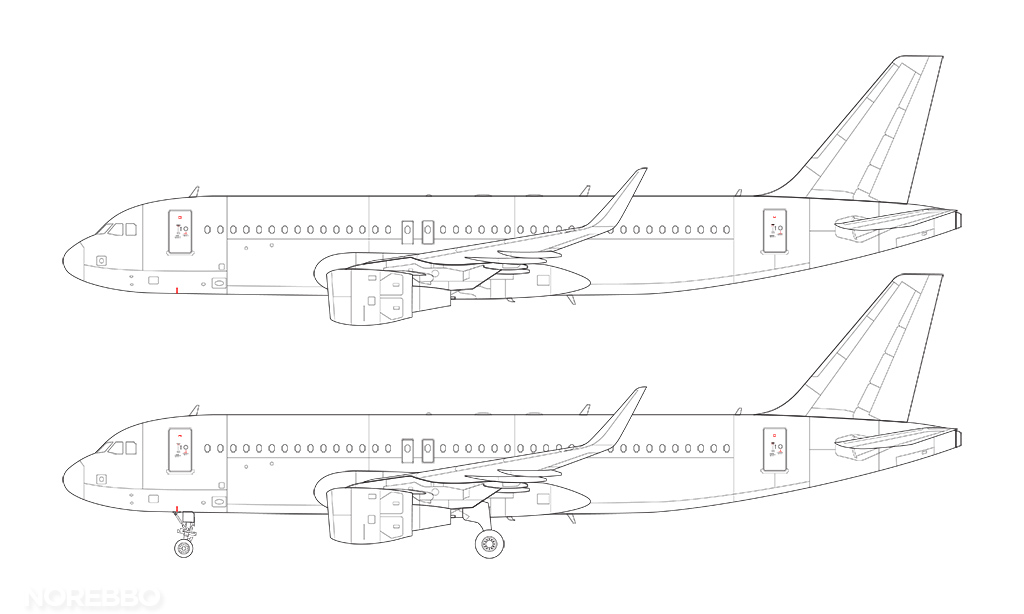 a320 line drawing with sharklets